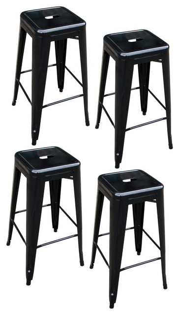 Outstanding Amerihome Bs030Bset Loft Black Metal Bar Stools Set Of 4 Ibusinesslaw Wood Chair Design Ideas Ibusinesslaworg