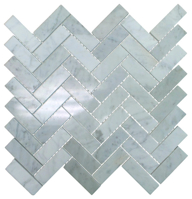 """Polished Marble Herringbone Mosaic Tile, 12""""x13"""", Bianco Carrara White, 5 Sheets"""