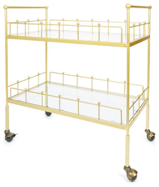 Fitz 2-Tier Rectangular Serving Cart, Gold