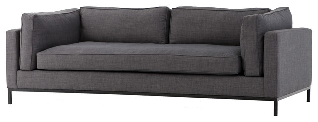 Charcoal Gray Upholstered Fabric Sofa