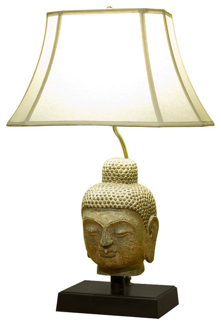 Stone Buddha Head Table Lamp With Shade Asian Table Lamps