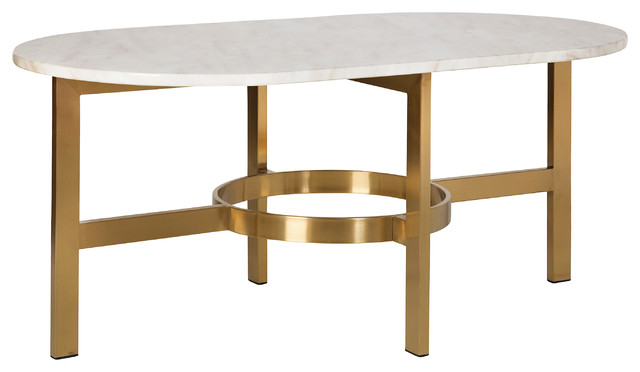 Versailles Marbled Coffee Table, Antique Brass