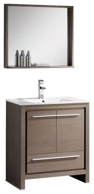 30 in gray oak modern bathroom vanity isarus chrome for Levi 29 5 single modern bathroom vanity set