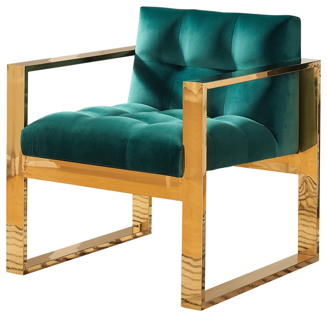 Mia Velvet Accent Chair Green Contemporary Armchairs