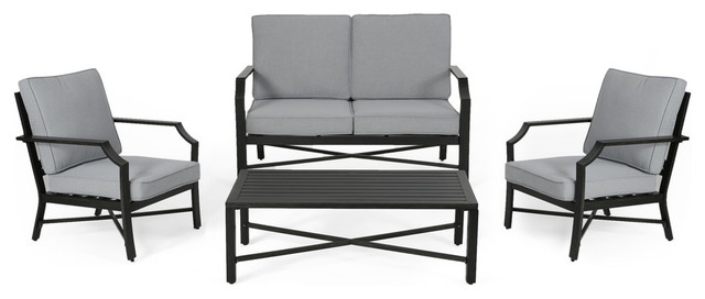 Super Zoe Outdoor Aluminum 4 Seater Chat Set Dailytribune Chair Design For Home Dailytribuneorg