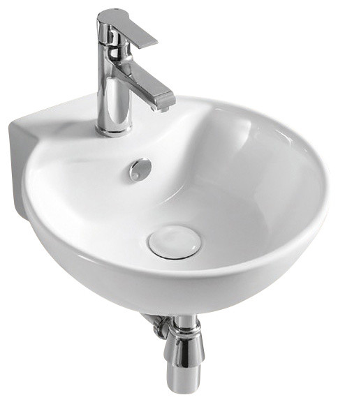 Round White Ceramic Wall Mounted Bathroom Sink, One Hole.
