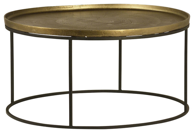 Brass Finish Round Coffee Table Industrial Coffee
