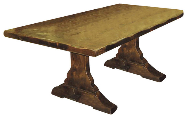 Distressed Wood Trestle Dining Table