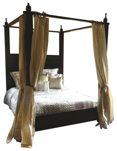 Indian Hand Crafted Ishi Canopy Bed Traditional Canopy Beds By