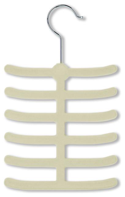 Velvet Touch Tie And Belt Hanger, Ivory, 20 Pack.