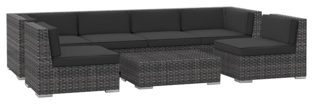 Oahu 7 Piece Outdoor Sectional Set, Charcoal Tropical Outdoor Lounge Sets