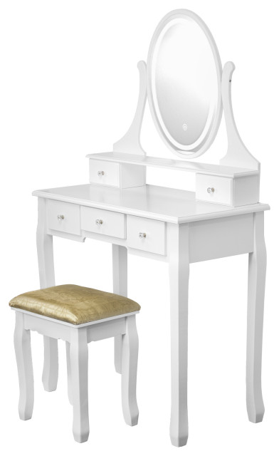 Vanity Table Set With Light Up Led Oval, Vanity Table Set With Lighted Mirror Stool