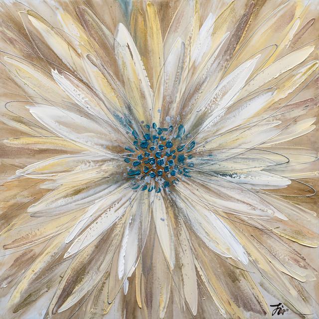 """Yellow Daisy"" Hand Painted Floral Canvas Artwork; Fine Art; Modern Art"