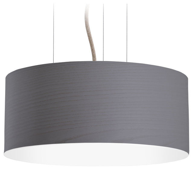 Large Veneli Pendant Light, Dark Grey Ash Veneer