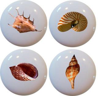 Carolina Hardware and Decor, LLC 4 Seashell Ceramic Cabinet Drawer ...