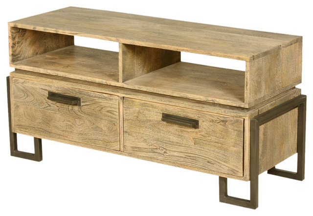 Modern Rustic Fusion Solid Wood Media Console Tv Stand