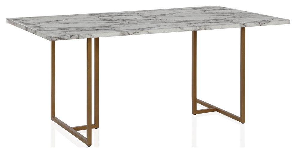 Edith Rectangular Faux Marble Dining Table White And Gold Eclectic Dining Tables By Dorel Living