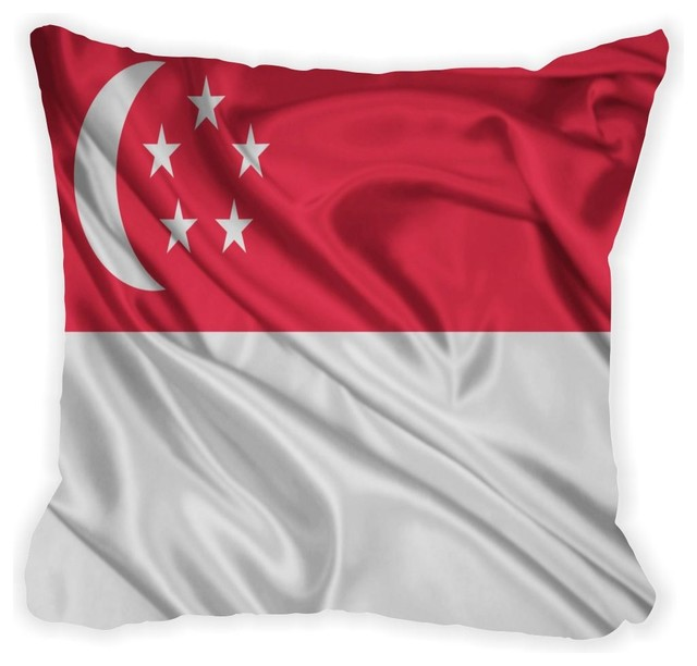 Singapore Flag Microfiber Throw Pillow - Contemporary - Decorative Pillows - by Rikki Knight LLC