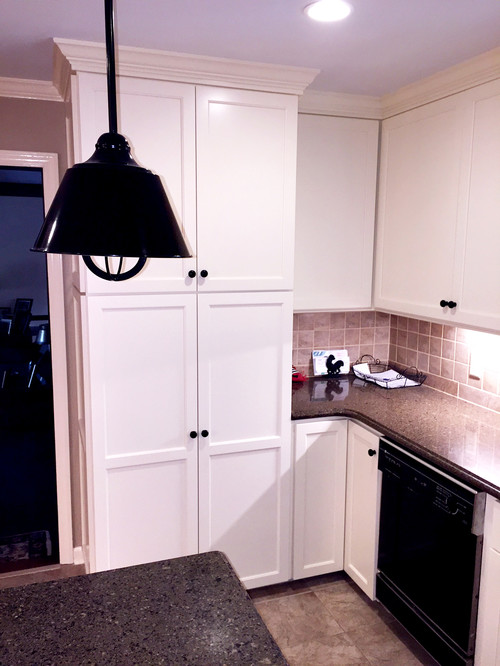 Traditional Kitchen With Soffits Before And After