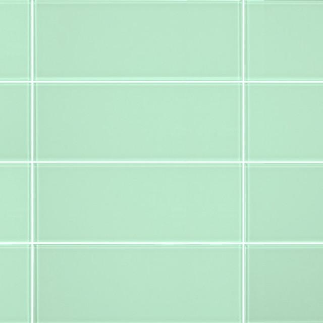 3 X8 Light Green Gl Subway Tiles Set Of 6 Contemporary