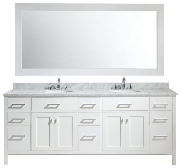 London 84 Double Sink Vanity Set In White Finish Contemporary Bathroom Vanities