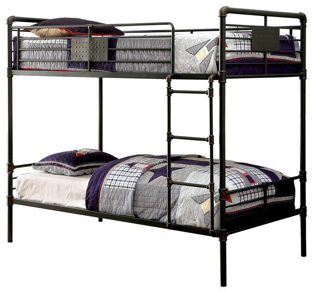 Twin Size Metal Bunk Bed In Sand Black Finish And Hand Painting
