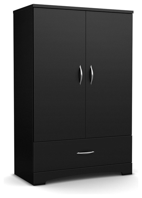Black 2-Door Bedroom Armoire Wardrobe With Bottom Storage Drawer