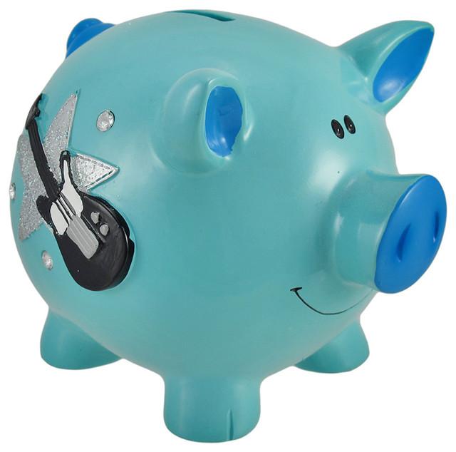 Shop Houzz Zeckos Blue Rock Star Piggy Bank With