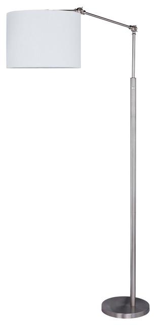 """Fangio Lighting&x27;s 74"""" Metal Floor Lamp, Satin Nickel."""