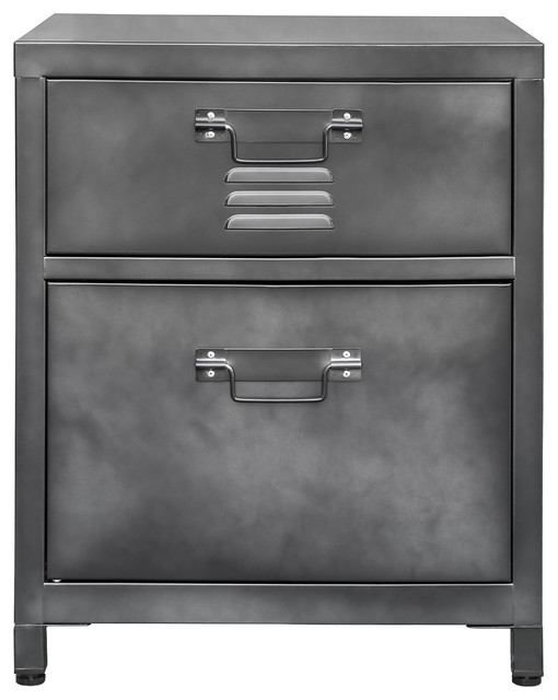 2-Drawer Steel Locker Style Nightstand.