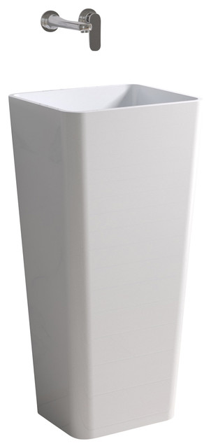 ADM White Solid Surface Stone Resin Pedestal Sink, White, Matte  Contemporary Bathroom