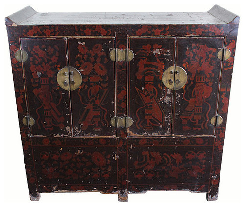 Consigned Antique, Dark Red Shanxi Chest Cabinet
