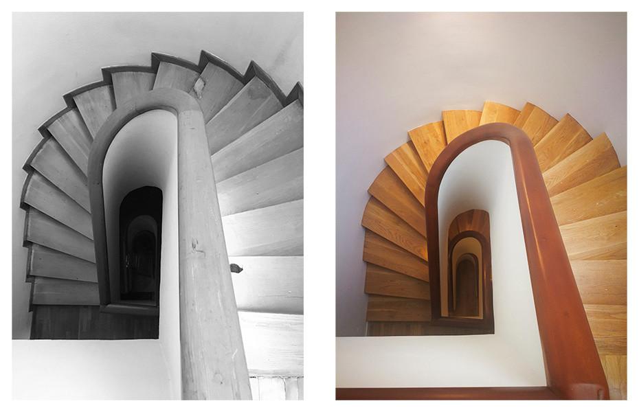 Antes y después de la escalera