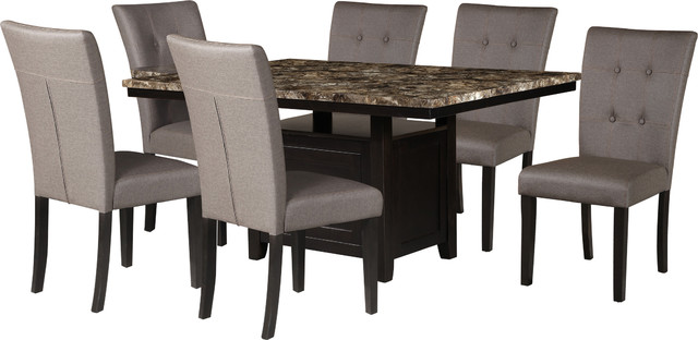 Faux Marble Table Top Dining Set, Light Espresso, 7 Piece