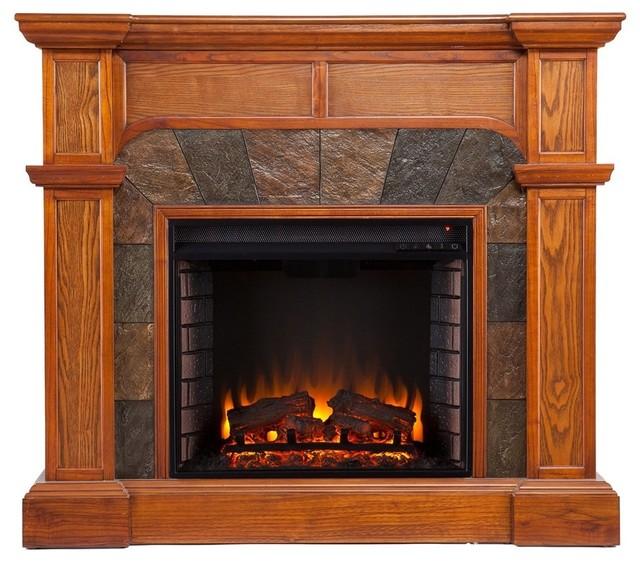 Cypress Electric Fireplace, Oak.