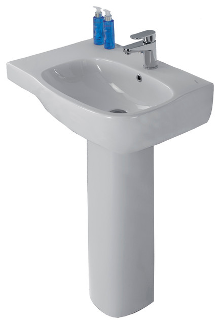 Moda 26 Ceramic Pedestal Sink With Overflow And One Faucet Hole.