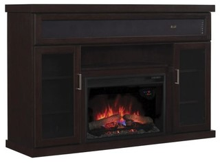 10or Tv Stand With Speakers And 25 Curved Electric Fireplace Espresso Transitional Indoor
