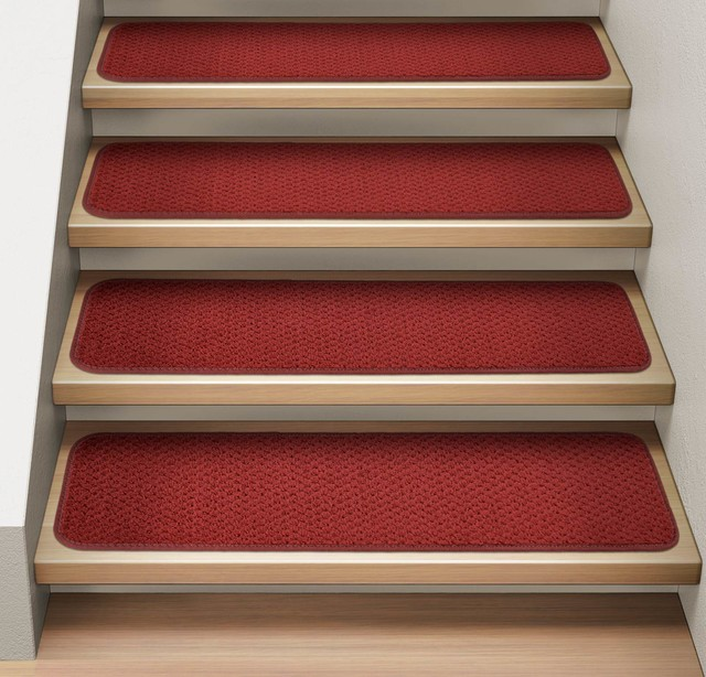 Set Of 12 Attachable Carpet Stair Treads Brick Red