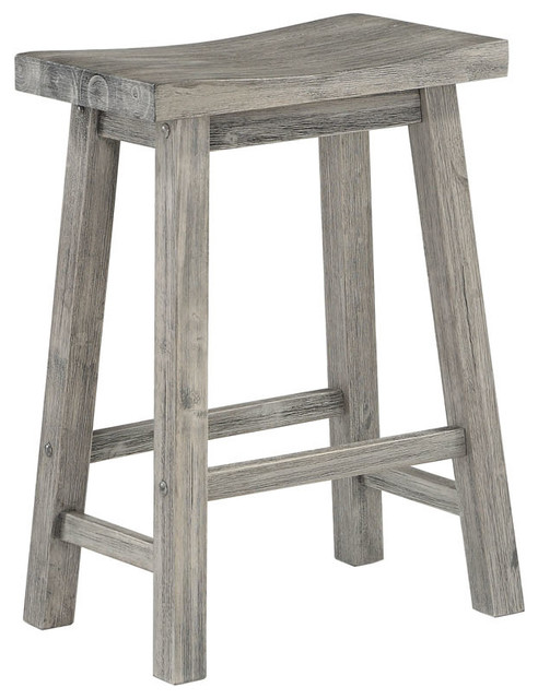 Sonoma Saddle Seat Counter Stool, Storm Gray Wire-Brush