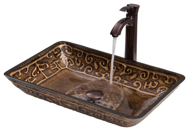 VIGO Rectangular Russet Glass Vessel Sink and Faucet Set - Modern ...