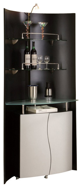 M7442 Black Silver Finish With Gl Shelves Bar Wall Unit