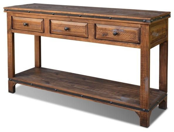 Distressed Rustic Reclaimed Solid Wood Sofa Table Rustic Console