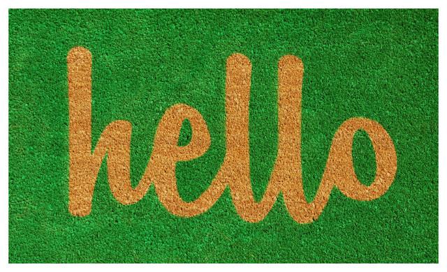 Hello Doormat Green/natural Script 24x36.