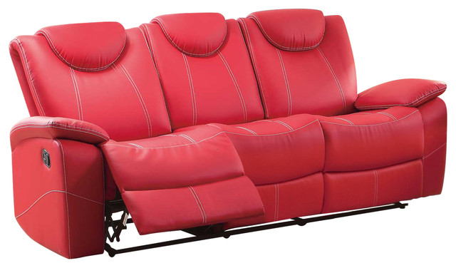 Glider Recliner Sofa With Adjustable Headrest, Red