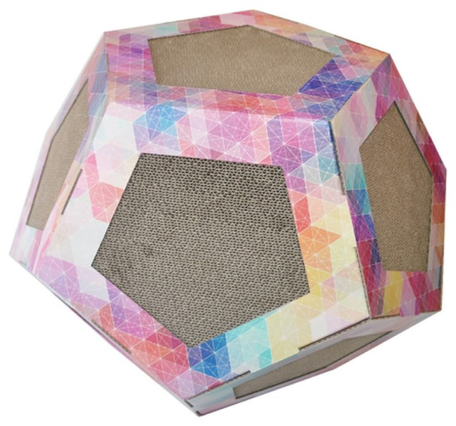 Octagon Ultra Premium Collapsible Puzzle Pet Cat Scratcher Toy And House