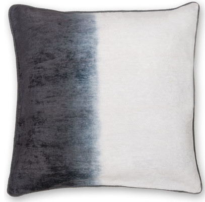 "Gradient Velvet Shaded Pillow, Dark Gray Ivory, 20""x20""."
