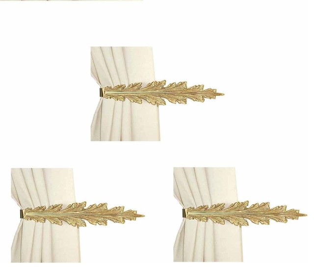 3 Vintage Pair Curtain Tie Back Holder Fern Leaf Bright Brass.
