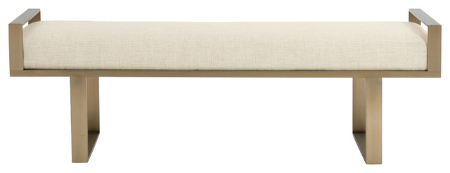 Portia Hollywood Regency Stainless Steel Gold Upholstered Bench.