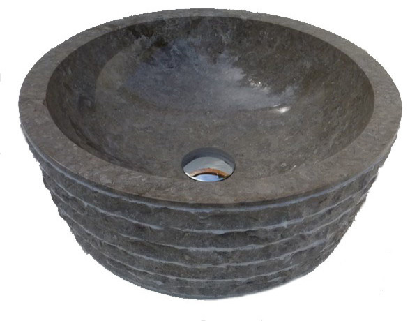 Cylindrical Hewn Marble Sink, Gray, 16.