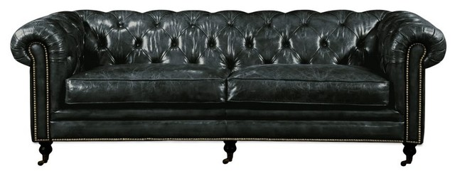 89 W Sofa Tufted Top Grain Leather Rolled Arms Br Tack Detail 4 Wheels